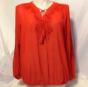 Lane Bryant Embroidered Sheer Blouse